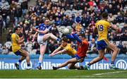 1 April 2018; Adrian Cole of Cavan has his shot on goal saved by Roscommon goalkeeper James Featherston as his team-mates, from left, Niall Kilroy, Niall McInerney, and Enda Smith look on during the Allianz Football League Division 2 Final match between Cavan and Roscommon at Croke Park in Dublin. Photo by Piaras Ó Mídheach/Sportsfile