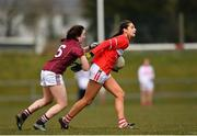 1 April 2018; Eimera Meaney of Cork in action against Leanne Coen of Galway during the Lidl Ladies Football National League Division 1 Round 7 match between Galway and Cork at Clonberne GAA Pitch in Ballinasloe, Co Galway. Photo by Eóin Noonan/Sportsfile