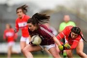 1 April 2018; Roisin Leonard of Galway in action against Eimear Meaney of Cork during the Lidl Ladies Football National League Division 1 Round 7 match between Galway and Cork at Clonberne GAA Pitch in Ballinasloe, Co Galway. Photo by Eóin Noonan/Sportsfile