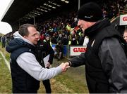1 April 2018; Wexford manager Davy Fitzgerald and Kilkenny manager Brian Cody shake hands after the Allianz Hurling League Division 1 semi-final match between Wexford and Kilkenny at Innovate Wexford Park in Wexford. Photo by Matt Browne/Sportsfile