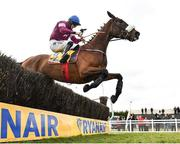 1 April 2018; Shattered Love, with Jack Kennedy up, jumps the last on their way to finishing second in the Ryanair Gold Cup Novice Steeplechase on Day 1 of the Fairyhouse Easter Festival at Fairyhouse Racecourse in Ratoath, Co Meath. Photo by Seb Daly/Sportsfile