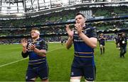1 April 2018; Andrew Porter, left, and James Ryan of Leinster following the European Rugby Champions Cup quarter-final match between Leinster and Saracens at the Aviva Stadium in Dublin. Photo by Ramsey Cardy/Sportsfile