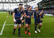 1 April 2018; Max Deegan,,left, James Lowe, centre, and Andrew Porter of Leinster following the European Rugby Champions Cup quarter-final match between Leinster and Saracens at the Aviva Stadium in Dublin. Photo by Ramsey Cardy/Sportsfile