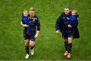 1 April 2018; James Tracy, left, and Sean Cronin of Leinster, with Sean Cronin's sons Finn and Cillian after the European Rugby Champions Cup quarter-final match between Leinster and Saracens at the Aviva Stadium in Dublin. Photo by Sam Barnes/Sportsfile
