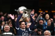 1 April 2018; Dublin captain Stephen Cluxton lifts the cup following the Allianz Football League Division 1 Final match between Dublin and Galway at Croke Park in Dublin. Photo by Stephen McCarthy/Sportsfile