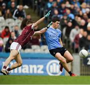 1 April 2018; Colm Basquel of Dublin in action against Eoghan Kerin of Galway during the Allianz Football League Division 1 Final match between Dublin and Galway at Croke Park in Dublin. Photo by Daire Brennan/Sportsfile