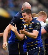 1 April 2018; Jonathan Sexton of Leinster celebrates after his side won a turnover during the European Rugby Champions Cup quarter-final match between Leinster and Saracens at the Aviva Stadium in Dublin. Photo by Brendan Moran/Sportsfile