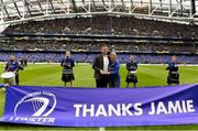 1 April 2018; Official Leinster Supporters Club President Sharon Levy-Valensi makes a presentation to recently retired Leinster and Ireland player Jamie Heaslip prior to the European Rugby Champions Cup quarter-final match between Leinster and Saracens at the Aviva Stadium in Dublin. Photo by Brendan Moran/Sportsfile
