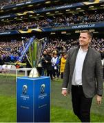 1 April 2018; Recently retired Leinster and Ireland player Jamie Heaslip acknowledges the crowd prior to the European Rugby Champions Cup quarter-final match between Leinster and Saracens at the Aviva Stadium in Dublin. Photo by Brendan Moran/Sportsfile