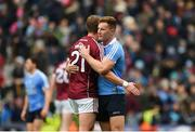 1 April 2018; Ciarán Kilkenny of Dublin embraces Gary O'Donnell of Galway after the Allianz Football League Division 1 Final match between Dublin and Galway at Croke Park in Dublin. Photo by Daire Brennan/Sportsfile