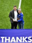 1 April 2018; Official Leinster Supporters Club President Sharon Levy-Valensi makes a presentation to recently retired Leinster and Ireland player Jamie Heaslip prior to the European Rugby Champions Cup quarter-final match between Leinster and Saracens at the Aviva Stadium in Dublin. Photo by Sam Barnes/Sportsfile
