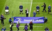 1 April 2018; Recently retired Leinster player Jamie Heaslip is presented to the crowd ahead of the European Rugby Champions Cup quarter-final match between Leinster and Saracens at the Aviva Stadium in Dublin. Photo by Sam Barnes/Sportsfile