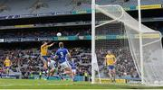 1 April 2018; Niall Kilroy of Roscommon scores his side's first goal during the Allianz Football League Division 2 Final match between Cavan and Roscommon at Croke Park in Dublin. Photo by Stephen McCarthy/Sportsfile