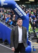 1 April 2018; Recently retired Leinster player Jamie Heaslip is presented to the crowd ahead of the European Rugby Champions Cup quarter-final match between Leinster and Saracens at the Aviva Stadium in Dublin. Photo by Ramsey Cardy/Sportsfile