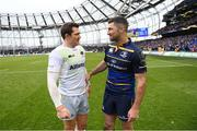 1 April 2018; Alex Goode of Saracens in conversation with Rob Kearney of Leinster following the European Rugby Champions Cup quarter-final match between Leinster and Saracens at the Aviva Stadium in Dublin. Photo by Ramsey Cardy/Sportsfile