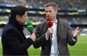 1 April 2018; Recently retired Leinster forward Jamie Heaslip giving his opinion to Craig Doyle of BT Sport during half-time of the European Rugby Champions Cup quarter-final match between Leinster and Saracens at the Aviva Stadium in Dublin. Photo by Brendan Moran/Sportsfile