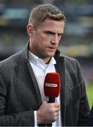 1 April 2018; Recently retired Leinster forward Jamie Heaslip giving his opinion on BT Sport during half-time of the European Rugby Champions Cup quarter-final match between Leinster and Saracens at the Aviva Stadium in Dublin. Photo by Brendan Moran/Sportsfile