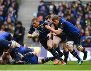 1 April 2018; Sean Cronin of Leinster supported by Cian Healy and Jordi Murphy during the European Rugby Champions Cup quarter-final match between Leinster and Saracens at the Aviva Stadium in Dublin. Photo by Sam Barnes/Sportsfile