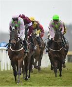 2 April 2018; Eventual winner Getabird, with Paul Townend up, leads the pack on the first time round during the Rathbarry & Glenview Studs Novice Hurdle on Day 2 of the Fairyhouse Easter Festival at Fairyhouse Racecourse in Meath. Photo by David Fitzgerald/Sportsfile