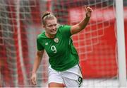 2 April 2018; Saoirse Noonan of Republic of Ireland celebrates after scoring her side's first goal during the UEFA Women's 19 European Championship Elite Round Qualifier match between Republic of Ireland and Austria at Turners Cross in Cork. Photo by Eóin Noonan/Sportsfile