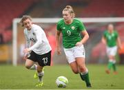 2 April 2018; Saoirse Noonan of Republic of Ireland in action against Melanie Brunnthaler of Austria during the UEFA Women's 19 European Championship Elite Round Qualifier match between Republic of Ireland and Austria at Turners Cross in Cork. Photo by Eóin Noonan/Sportsfile