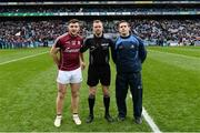 1 April 2018; Referee Anthony Nolan with team captains Damien Comer of Galway and Stephen Cluxton of Dublin before the Allianz Football League Division 1 Final match between Dublin and Galway at Croke Park in Dublin. Photo by Piaras Ó Mídheach/Sportsfile