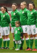 2 April 2018; Republic of Ireland players, from left, Alannagh McEvoy, Megan Mackey, Saoirse Noonan and Tiegan Ruddy with mascot Searlaith O'Callaghan ahead of the UEFA Women's 19 European Championship Elite Round Qualifier match between Republic of Ireland and Austria at Turners Cross in Cork. Photo by Eóin Noonan/Sportsfile