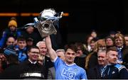 1 April 2018; Eric Lowndes of Dublin lifts the cup following the Allianz Football League Division 1 Final match between Dublin and Galway at Croke Park in Dublin. Photo by Stephen McCarthy/Sportsfile