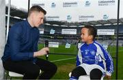 3 April 2018; Littlewoods Ireland Ambassador and Waterford Hurler Austin Gleeson interviews Tiernan Simunyu, age 7, of Crumlin GAA during Day 1 of the The Go Games Provincial days in partnership with Littlewoods Ireland at Croke Park in Dublin. Photo by Sam Barnes/Sportsfile