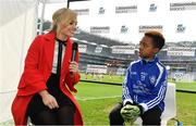 3 April 2018; Littlewoods Ireland ambassador and former Cork Camogie Anna Geary interviews Ciarán Okafor from Crumlin GAA during Day 1 of the The Go Games Provincial days in partnership with Littlewoods Ireland at Croke Park in Dublin. Photo by Sam Barnes/Sportsfile