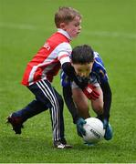 4 April 2018; Adam O'Mahony of Ballyboden St Enda's, Dublin, in action against Liam Hogan of Cuala, Dublin, during Day 2 of the The Go Games Provincial days in partnership with Littlewoods Ireland at Croke Park in Dublin. Photo by Piaras Ó Mídheach/Sportsfile