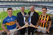 4 April 2018; The 2018 Allianz Hurling League Division 1 Final takes place at Nowlan Park on Sunday next April 8th. In attendance at a photocall ahead of the Allianz Hurling League Division 1 Final are, from left, Brendan Maher of Tipperary, Damien O'Neill, Head of Marketing Operations, Allianz, Uachtarán Chumann Lúthchleas Gael John Horan and Cillian Buckley of Kilkenny. Photo by Brendan Moran/Sportsfile