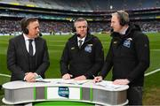 1 April 2018; TG4 presenter Micheál Ó Domhnaill, left, with analysts Seán Óg de Paor and Coman Goggins, right, during the Allianz Football League Division 1 Final match between Dublin and Galway at Croke Park in Dublin. Photo by Stephen McCarthy/Sportsfile