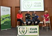 4 April 2018; Michael Cox, Park Rangers AFC, Faithlegg, Co. Waterford, Hugh Gallagher, Gweedore Celtic, Derrybeg, Co. Donegal, and Sean Molloy, Achill Rovers, Co. Mayo, with MC Ger Treacy during a panel discussion during the FAI Club Mark launch at the FAI HQ in Abbotstown, Dublin. Photo by Seb Daly/Sportsfile