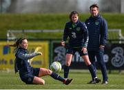 5 April 2018; Katie McCabe, left, Niamh Fahey and head coach Colin Bell during Republic of Ireland training at the FAI National Training Centre in Abbotstown, Dublin. Photo by Stephen McCarthy/Sportsfile