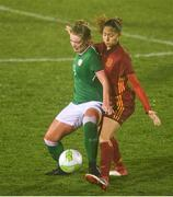 5 April 2018; Saoirse Noonan of Republic of Ireland in action against Laia Aleixandri of Spain during the UEFA Women's U19 European Championship Elite Round Qualifier match between Spain and Republic of Ireland at Turners Cross in Cork. Photo by Eóin Noonan/Sportsfile