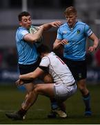 5 April 2018; Jamie Glynn of UCD is tackled by Kyle Dixon of Trinity during the Annual Rugby Colours Match 2018 match between UCD and Trinity at College Park in Trinity College, Dublin. Photo by Stephen McCarthy/Sportsfile
