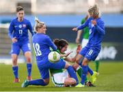 6 April 2018; Niamh Fahey of Republic of Ireland in action against Dominika Škorvánková, left, and Patrícia Hmírová of Slovakia during the 2019 FIFA Women's World Cup Qualifier match between Republic of Ireland and Slovakia at Tallaght Stadium in Tallaght, Dublin. Photo by Stephen McCarthy/Sportsfile