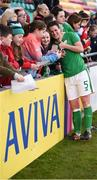 6 April 2018; Niamh Fahey of Republic of Ireland with supporters following the 2019 FIFA Women's World Cup Qualifier match between Republic of Ireland and Slovakia at Tallaght Stadium in Tallaght, Dublin. Photo by Stephen McCarthy/Sportsfile