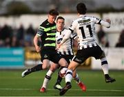 6 April 2018; Ronan Finn of Shamrock Rovers in action against Robbie Benson, centre, and Krisztian Adorjan of Dundalk during the SSE Airtricity League Premier Division match between Dundalk and Shamrock Rovers at Oriel Park in Dundalk, Louth.  Photo by Seb Daly/Sportsfile