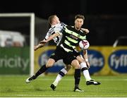 6 April 2018; Ronan Finn of Shamrock Rovers in action against Chris Shields of Dundalk during the SSE Airtricity League Premier Division match between Dundalk and Shamrock Rovers at Oriel Park in Dundalk, Louth.  Photo by Seb Daly/Sportsfile