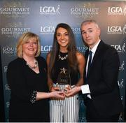 6 April 2018; Niamh Kelly of Dublin City University, Co Dublin, receiving her Gourmet Food Parlour O'Connor Cup All Star Award from Marie Hickey, President of the LGFA, and Donal Barry, Chairperson Ladies HEC, at the Croke Park Hotel on Friday, April 6th. The Gourmet Food Parlour O'Connor Cup All Star team featured performers from the GFP O'Connor, Giles and Lynch Cup competitions. GFP O'Connor Cup weekend was recently hosted by IT Blanchardstown and the GAA's National Games Development Centre in Abbotstown. The Croke Park Hotel in Dublin, Jones' Road, Dublin. Photo by David Fitzgerald/Sportsfile