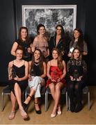 6 April 2018; DCU players, back row, from left, Emer Ní Éafa, Emma Kevaney, Deirdre Geaney, Leah Caffrey and front row, from left, Aishling Moloney, Niamh Kelly, Sarah Rowe and Laura McGinley after receiving their Gourmet Food Parlour LGFA HEC O'Connor Cup All Star Awards at the Croke Park Hotel on Friday, April 6th. GFP O'Connor Cup weekend was recently hosted by IT Blanchardstown and the GAA's National Games Development Centre in Abbotstown. The Croke Park Hotel in Dublin, Jones' Road, Dublin  Photo by David Fitzgerald/Sportsfile