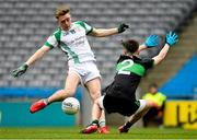 7 April 2018; Kuba Callaghan of St Nathy's College in action against Patrick Quinn of Holy Trinity College during the Masita GAA All Ireland Post Primary Schools Paddy Drummond Cup Final match between St Nathy's College Ballaghaderreen and Holy Trinity College Cookstown at Croke Park in Dublin. Photo by Piaras Ó Mídheach/Sportsfile