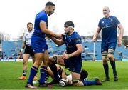 7 April 2018; Max Deegan of Leinster celebrates with team-mate Adam Byrne, left, after scoring his side's fourth try during the Guinness PRO14 Round 19 match between Leinster and Zebre at the RDS Arena in Dublin. Photo by Ramsey Cardy/Sportsfile