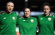 6 April 2018; Republic of Ireland players, from left, Louise Quinn, Niamh Fahey and Karen Duggan during the 2019 FIFA Women's World Cup Qualifier match between Republic of Ireland and Slovakia at Tallaght Stadium in Tallaght, Dublin. Photo by Stephen McCarthy/Sportsfile