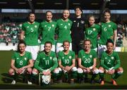 6 April 2018; The Republic of Ireland team, back row, from left, Niamh Fahey, Diane Caldwell, Louise Quinn, Marie Hourihan, Ruesha Littlejohn and Karen Duggan, with front row, Leanne Kiernan, Katie McCabe, Denise O'Sullivan, Megan Connolly and Sophie Perry-Campbell prior to the 2019 FIFA Women's World Cup Qualifier match between Republic of Ireland and Slovakia at Tallaght Stadium in Tallaght, Dublin. Photo by Stephen McCarthy/Sportsfile
