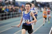 7 April 2018; David Mannion of South Galway AC, crosses the line to win the Under 14 Boys 4x200m relay team event, during the Irish Life Health National Juvenile Indoor Championships day 1 at Athlone IT in Athlone, Co Westmeath. Photo by Tomás Greally/Sportsfile