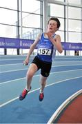 7 April 2018; David Mannion of South Galway AC, on his way to winning the Under 14 Boys 4x200m relay team event, during the Irish Life Health National Juvenile Indoor Championships day 1 at Athlone IT in Athlone, Co Westmeath. Photo by Tomás Greally/Sportsfile
