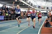 7 April 2018; Riona Doherty, left, Finn Valley AC, Co. Donegal, crosses the line to win the Under 12 Girls 4x100m relay team event, during the Irish Life Health National Juvenile Indoor Championships day 1 at Athlone IT in Athlone, Co Westmeath. Photo by Tomás Greally/Sportsfile
